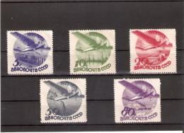 462-466 SERIE COMPLETA DE 5 SELLOS DE RUSIA DEL AÑO 1933  (NUEVOS-MINT) AVION-PLANE - 1923-1991 UdSSR