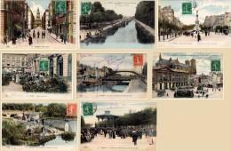 8 Cpa Reims - Kiosque, Pêcheurs, Tramway, Canal, Marché Aux Fleurs, Rues  ( ELD ) - Reims