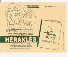 BUVARD  PUBILICITE  POUR  CAHIER   HERAKLES   (  PREHISTOIRE ) - Colecciones & Series
