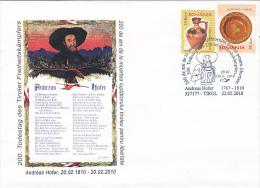 21780- ANDREAS HOFER, TYROLEAN REBELLION FIGHTER, SPECIAL COVER, 2010, ROMANIA - 1948-.... Repubbliche