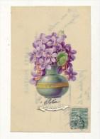 CARTE CELLULOID FLEURS COLLAGE CHROMO BON ETAT - Cartes Postales