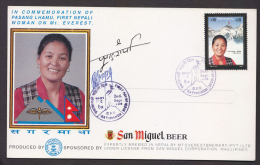 Nepal  1994  Climbing   Mount Everest   Climber Memorial  Signed  San Miguel Beer Cover #  65891 - Beers