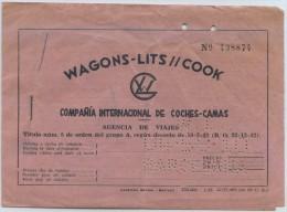 TICKET WAGONS-LITS // COOK // BARCELONA - SAN SEBASTIAN - Railway