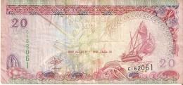 BILLETE DE MALDIVAS DE 20 RUFIYAA DEL AÑO 2000 (CARACOLA-SEA SHELL)   (BANKNOTE) SIN CIRCULAR-UNCIRCULATED - Maldivas