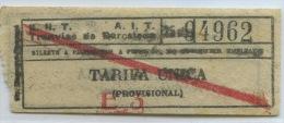 TICKET TRANVIAS DE BARCELONA - GUERRA CIVIL - C.N.T.  A.I.T. - Tramways
