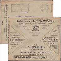 Belgique 1927. Enveloppe En Franchise Des Chèques Postaux. Pub : Cygne, Pont échafaudages Verre Bière Vin Radio Camions - Vetri & Vetrate