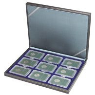 Lindner 2364-2219ME NERA M Coin Case With A Dark Blue Insert. Suitable For 9 Slabs Up To A Size Of 63 X 85 Mm. - Supplies And Equipment