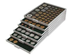Lindner 2154C Coin Box CARBO With 54 Round Compartments, Suitable For Coins With Ø Of 25,75 Mm, E.g. For 2 EURO Coins. - Supplies And Equipment