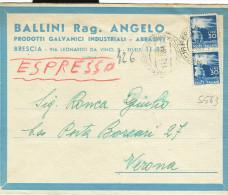 DEMOCRATICA £.30+30,S 563, IN TARIFFA LETTERA ESPRESSO,1950, TIMBRO POSTE BRESCIA, VERONA, BALLINI BRESCIA - 6. 1946-.. Repubblica