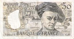BILLETE DE FRANCIA DE 50 FRANCOS DE QUENTIN DE LA TOUR DEL AÑO 1989 (BANKNOTE) - 1962-1997 ''Francs''
