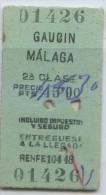 TICKET FERROCARRIL RENFE  // GAUCIN - MALAGA // VER DORSO - Europe