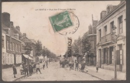 62 -LAVENTIE-(LA VENTIE Sur La Carte) Rue Des Clinques Et Mairie--attelage-animé - Laventie