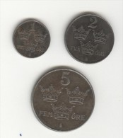 Série Suède / Sweden - 1, 2, 5 Ore 1947 TTB - Sweden