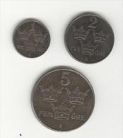 Série Suède / Sweden - 1, 2, 5 Ore 1947 TTB - Suecia