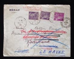 FRANCE TIMBRE MARCOPHILIE OBLITÉRÉ OBLITÉRATION LETTRE SENAT DERNIER JOUR DES PERFORE S 1940 TYPE MERCURE - Marcophilie (Lettres)
