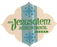 ETIQUETA DE HOTEL  -  HOTEL JERUSALEM INTERCONTINENTAL - JORDAN - Etiquetas De Hotel