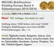 Südost-Europa 2015/2016 Katalog Neu 66€ Band 4 MICHEL Southeast-Europe Stamp Ägäis Kreta Kroatien SRB BG GR RO TR Cyprus - Andere Sammlungen