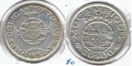MOZAMBIQUE 20 ESCUDOS 1952 PLATA SILVER C56 - Mozambique