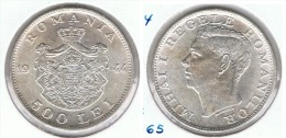 RUMANIA 500 LEI 1944 PLATA SILVER - Rumania