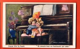 EZB-13  Fred Spurgin, Enfants Jouant Du Piano. Je Le Sais Par Coeur. Ecrite Par Un Militaire Sous Enveloppe. - Spurgin, Fred