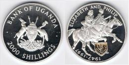 UGANDA 2000 SHILLINGS 1997 PLATA SILVER GOLD - Uganda