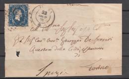 1854 - Frontespizio Con 20 Cent. 1° Emissione Per Da Ivrea Per Torino - Sardinia