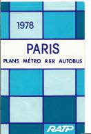 Paris Plan Métro RER Autobus  - 1978 - Scans Des Pages Intérieures - édition Ratp - Listes Des Stations De Métro - Europe