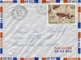 Guadeloupe USA Lettre  Avion Airmail Cover 1968 Basse Terre Tableau Lascaux Prehistoire - Brieven En Documenten