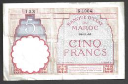 MAROC (MAROCCO) : 5 Francs - 14/11/1941 - Marocco