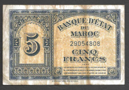MAROC (MAROCCO) : 5 Francs - 1/3/44 - Marocco