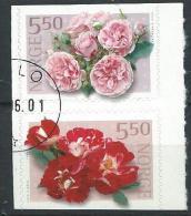 Norvège 2001 N°1346/1347 En Paire Oblitérée Roses - Norwegen