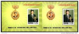 Korea 1994, SC #3366, Perf & Imperf S/S, Winner Of Kim's Juche Idea Prize - Famous People