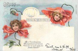 [DC4618] CARTOLINA - ILLUSTRATA - GRUSS AUS - GUTEN ABEND - BUONASERA - Viaggiata 1899 - Old Postcard - Saluti Da.../ Gruss Aus...