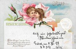 [DC4619] CARTOLINA - ILLUSTRATA - GRUSS AUS - GUTEN MORGEN - BUONGIORNO - Viaggiata 1899 - Old Postcard - Saluti Da.../ Gruss Aus...