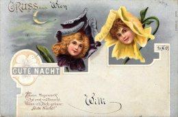 [DC4620] CARTOLINA - ILLUSTRATA - GRUSS AUS - GUTE NACHT - BUONANOTTE - Viaggiata 1899 - Old Postcard - Saluti Da.../ Gruss Aus...