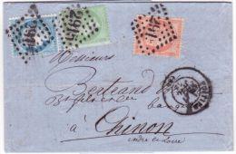 1872- Lettre De Poitiers ( Vienne ) Cad T17 Affr. N°38,35 Et 60 ( 3è échelon ) Pour Chinon - 1849-1876: Période Classique