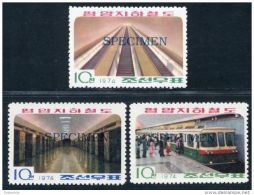 Korea 1974, SC #1182-84, Specimen, Pyungyang Metro Trains - Trains