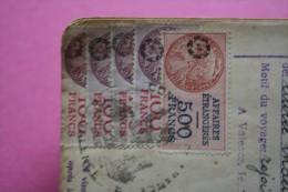 PASSPORT 1948 PASAPORTE ESPANA ESPAGNE DOCUMENTO HISTÓRICO+VIGNETTE VISA FISCAUX 900fr MINISTERE AFFAIRES ETRANGERE - Documentos Históricos