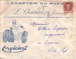 CHARENTE MARITIME - JONZAC - ENVELOPPE PUBLICITE - ART DECO - FEMME - COMPTOIR DU PNEU - ENGLEBERT - CHAINTRIER - 1943 - Cars