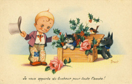 Je Vous Apporte Du Bonheur Pour Toute L'année  Houx  Chat Et Chien  Illustrateur Brant   Cpa - Katzen