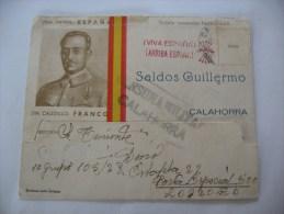 CARTOLINA Storia Postale SPAGNA ESPANA SELDOS GUILLERMO UN CAUDILLO FRANCO GUERRA CIVILE 1938 - 1931-Aujourd'hui: II. République - ....Juan Carlos I