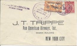 9.2.1929 Colon - Miami Lettre Affranchie Panama N°137 + PA 5 Avec Griffe Violette - Airmail