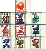 Berlin (West) 402A-411A Side Piece (complete Issue) Unmounted Mint / Never Hinged 1971 Accident Prevention - Unused Stamps