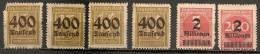 Timbres - Allemagne - Empire - 1923 - Dentelure En Zig Zag - Lot De 6 Timbres - - Allemagne