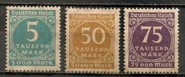 Timbres - Allemagne - Empire - 1923 - Dentelure En Zig Zag - Lot De 3 Timbres - - Allemagne