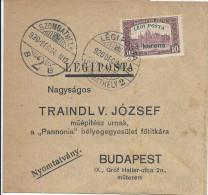 7.11.1920 Szombathely - Budapest - Bande Affranchie Hongrie PA 5 - Airmail