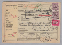 DR 1930-12-03 Berlin Wilmersdorf Paketkarte Nach Zürich Transit Basel - Briefe U. Dokumente
