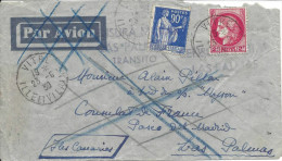 France N°368 + 373 Oblit Vitre Lille Et Vilaine Sur Lettre Pour Les Canaries Avec Griffe Violette - Airmail