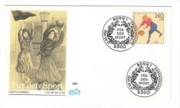 GERMANY BONN FUR DEN SPORT 1991 ERSTTAGSBRIEF FDC PREMIER JOUR  BASKETBALL SPORT - Basketball