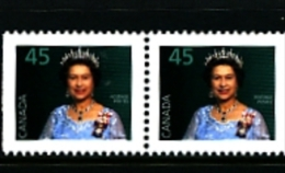 CANADA - 1995  45c  QUEEN ELISABETH PAIR FROM BOOKLET  MINT NH - 1952-.... Regno Di Elizabeth II